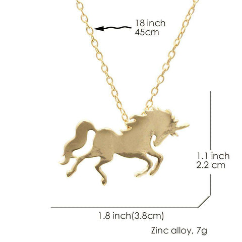 Gold Unicorn Horse Necklace - Green Earth Animals