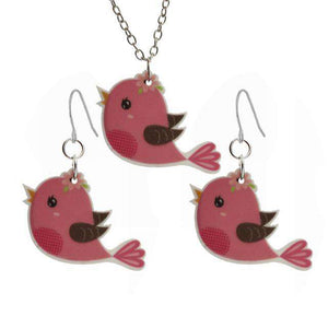Pink Love Bird Necklace and Earrings Jewelry Set - Green Earth Animals