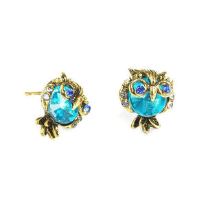 Blue Crystal Gold Owl Stud Earrings