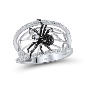 Black Spider and Web Sterling Silver Ring