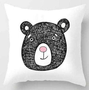 Cute Black Bear Cartoon Pillow Cover for Kids