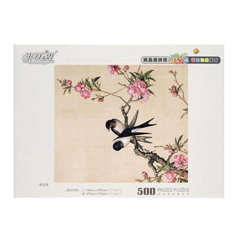 Image of Oriental Peach Blossoms and Swallows Wooden Puzzle 500 piece