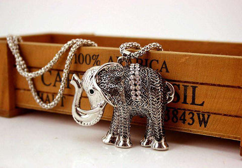 Auspicious Lucky Elephant Necklace - Green Earth Animals
