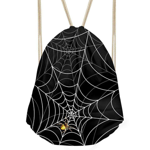 Image of Black Spider Web Drawstring Backpack Bag