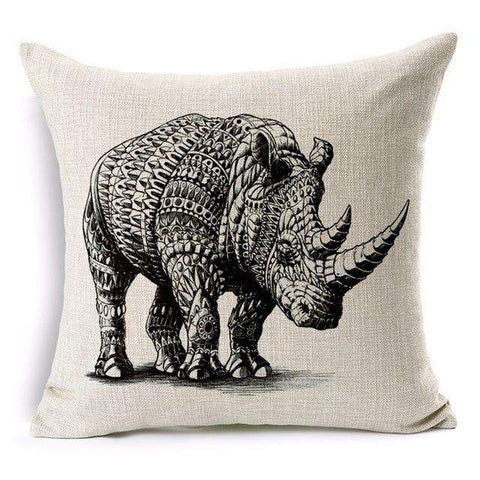 African Rhino Printed Throw Pillow Cover