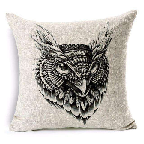 Great Horned Owl Printed Throw Pillow Cover