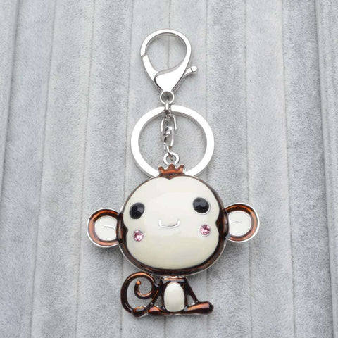 Image of Cute Monkey Crystal Rhinestone Pendant Key Chain