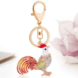 Rooster Chicken Keychain Ornament