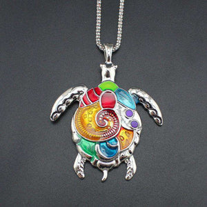 Colorful Turtle Pendant Necklace