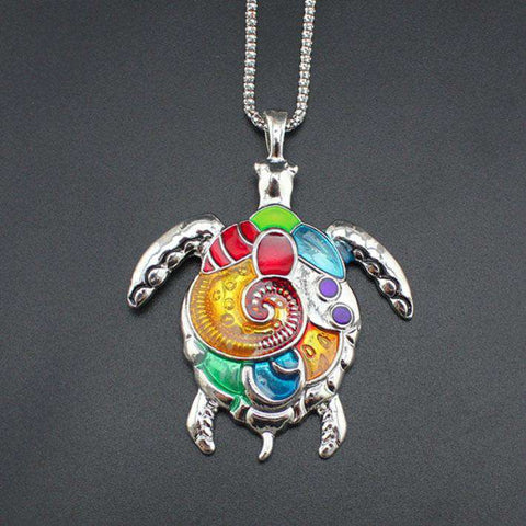 Image of Colorful Turtle Pendant Necklace - Green Earth Animals