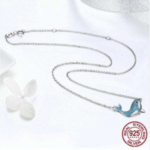 Sterling Silver Crystal Whale Necklace