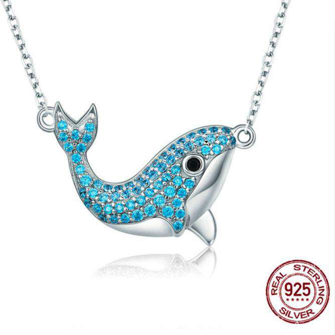 Sterling Silver Crystal Whale Necklace - Green Earth Animals