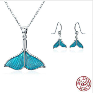 Sterling Silver Whale Tail Necklace and Earrings Set - Green Earth Animals
