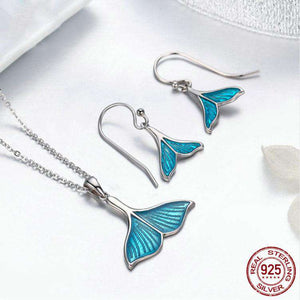 Sterling Silver Whale Tail Necklace and Earrings Set