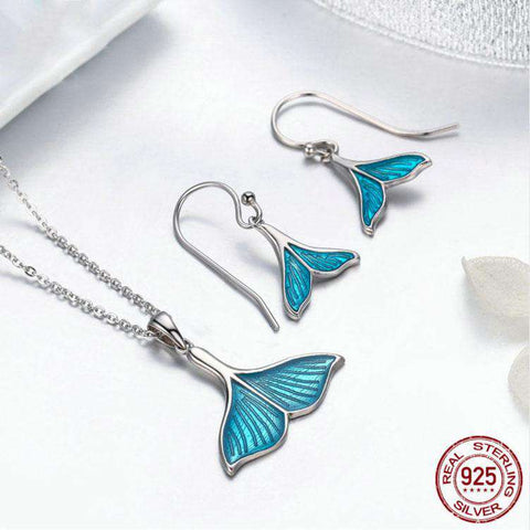 Image of Sterling Silver Whale Tail Necklace and Earrings Set - Green Earth Animals