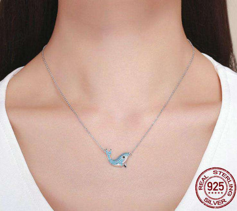 Image of Sterling Silver Crystal Whale Necklace - Green Earth Animals