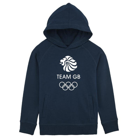 Team GB Olympic White Logo Hoodie Kids Navy