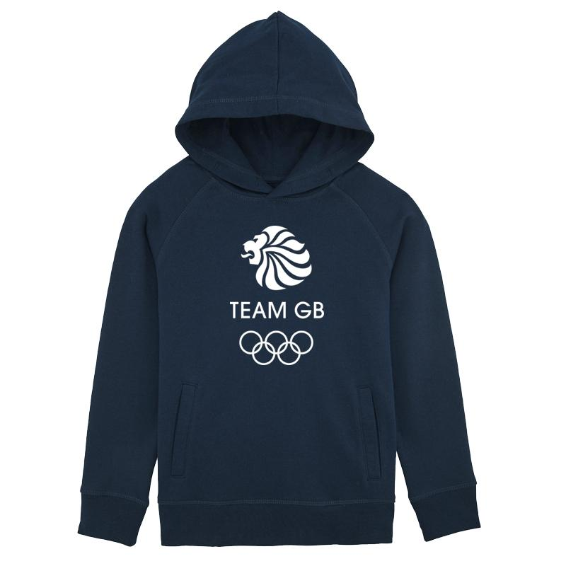 Team GB Olympic White Logo Hoodie Kids Navy-Team GB Shop
