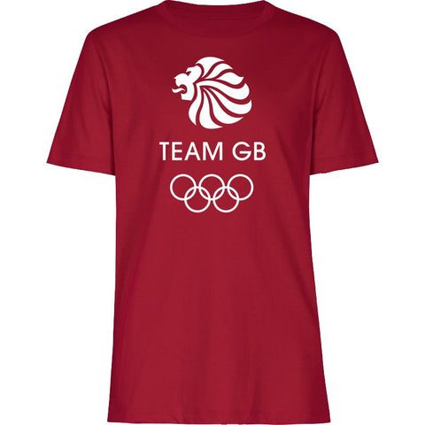 Team GB Olympic White Logo T-Shirt Kids Red