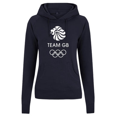 Team GB Olympic White Logo Hoodie Women's Navy-Team GB Shop