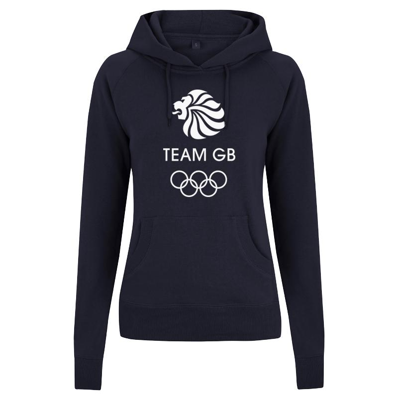 Team GB Olympic White Logo Hoodie Women's Navy | Team GB Official Store