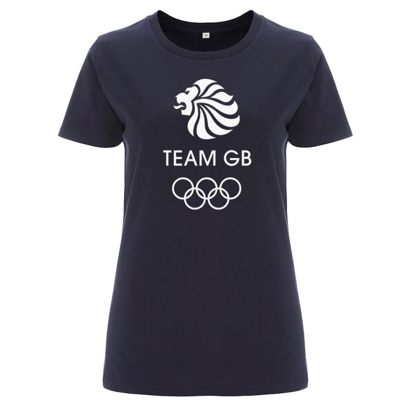 Team GB Olympic White Logo T-Shirt Women's Navy