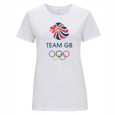 Team GB Olympic Colour Logo T-Shirt Women's White-Team GB Shop