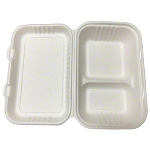 9 x 6 x 3in 2-Section Clamshell - Sugarcane - Food Loops