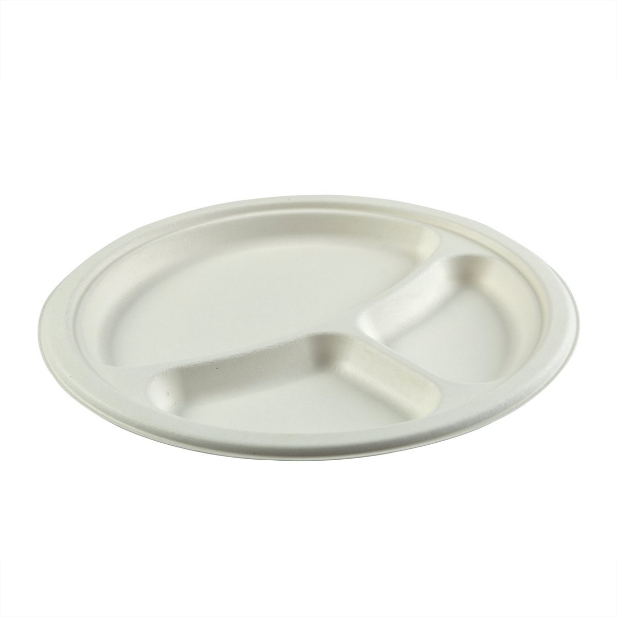 10in 3-Section Round Plate Dinnerware - Bagasse Primeware