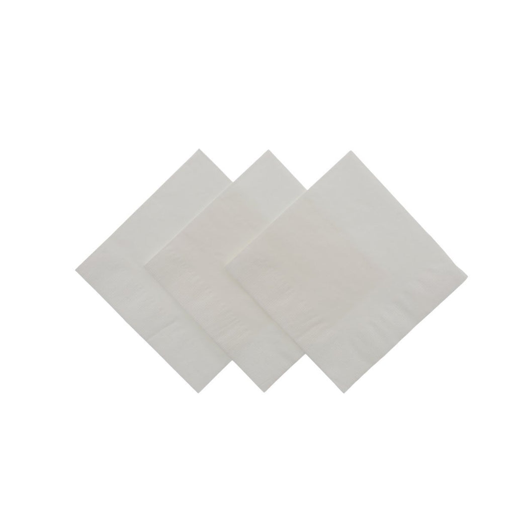 2 Ply Beverage Napkin - White - Food Loops