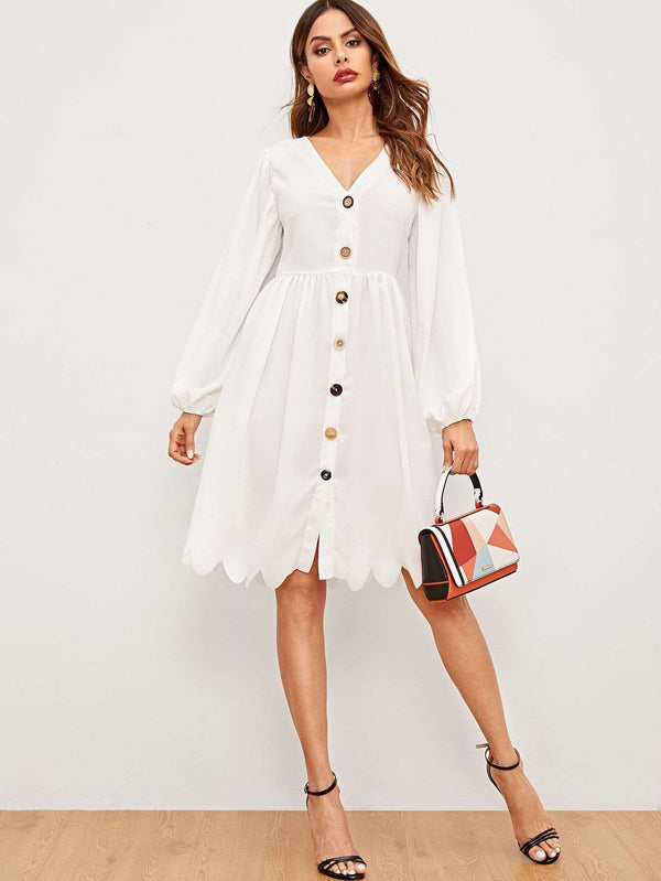 Lets Make It Modern | Button Through Scallop Hem Shirt Dress