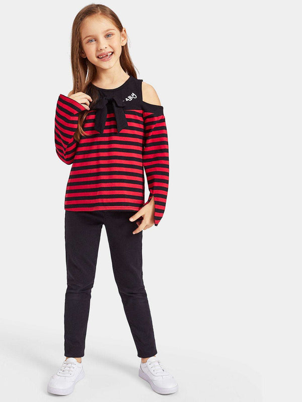 Lets Make It Modern | Girls Cutout Shoulder Bow Detail Striped Tee