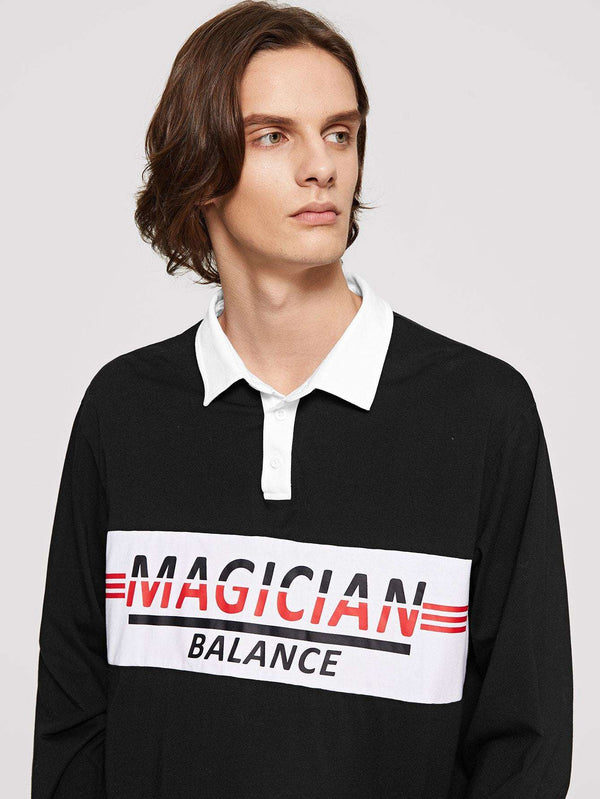 Lets Make It Modern | Men Letter Print Polo Shirt
