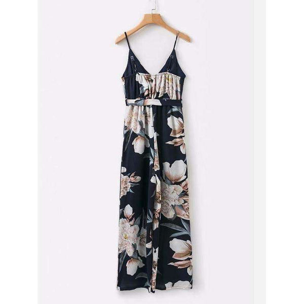 All Over Florals Belted Cami Jumpsuit