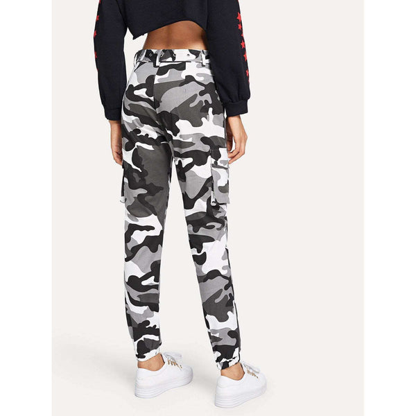 Lets Make It Modern | Camo Print Ring Detail Belted Pants