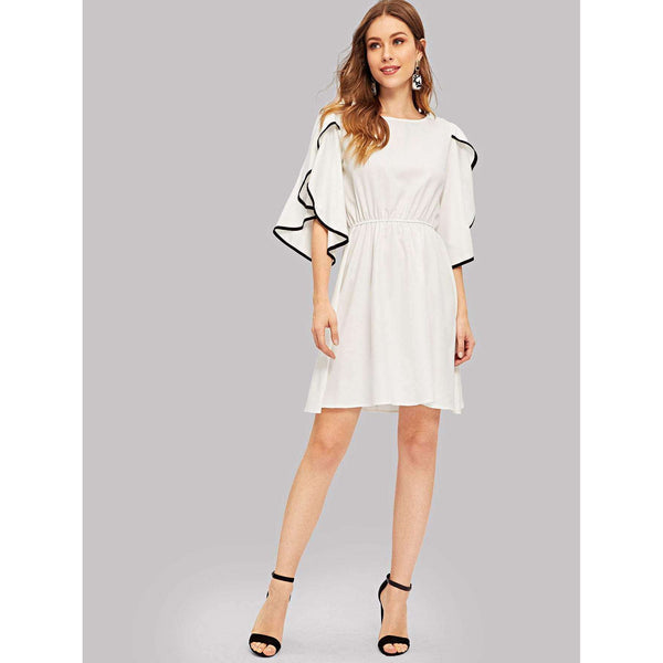 Lets Make It Modern | Contrast Binding Flutter Sleeve Dress
