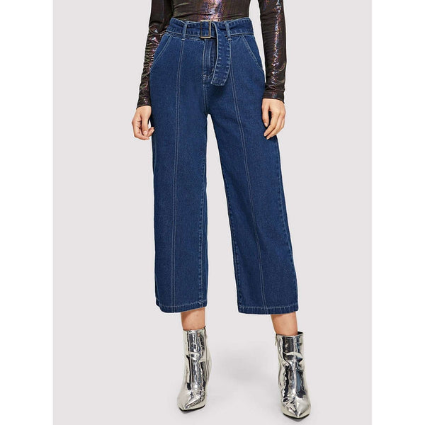 Lets Make It Modern | Contrast Stitch Culotte Jeans With Buckle Belt