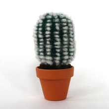 Dark Green Fluffy Crocheted Cactus