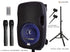 "Alphasonik 10"" Portable Rechargeable Battery Powered 1000W PRO DJ Amplified Loud Speaker with 2 Wireless Microphones Echo Bluetooth USB SD Card AUX MP3 FM Radio PA System LED Ring Karaoke Tripod Stand"