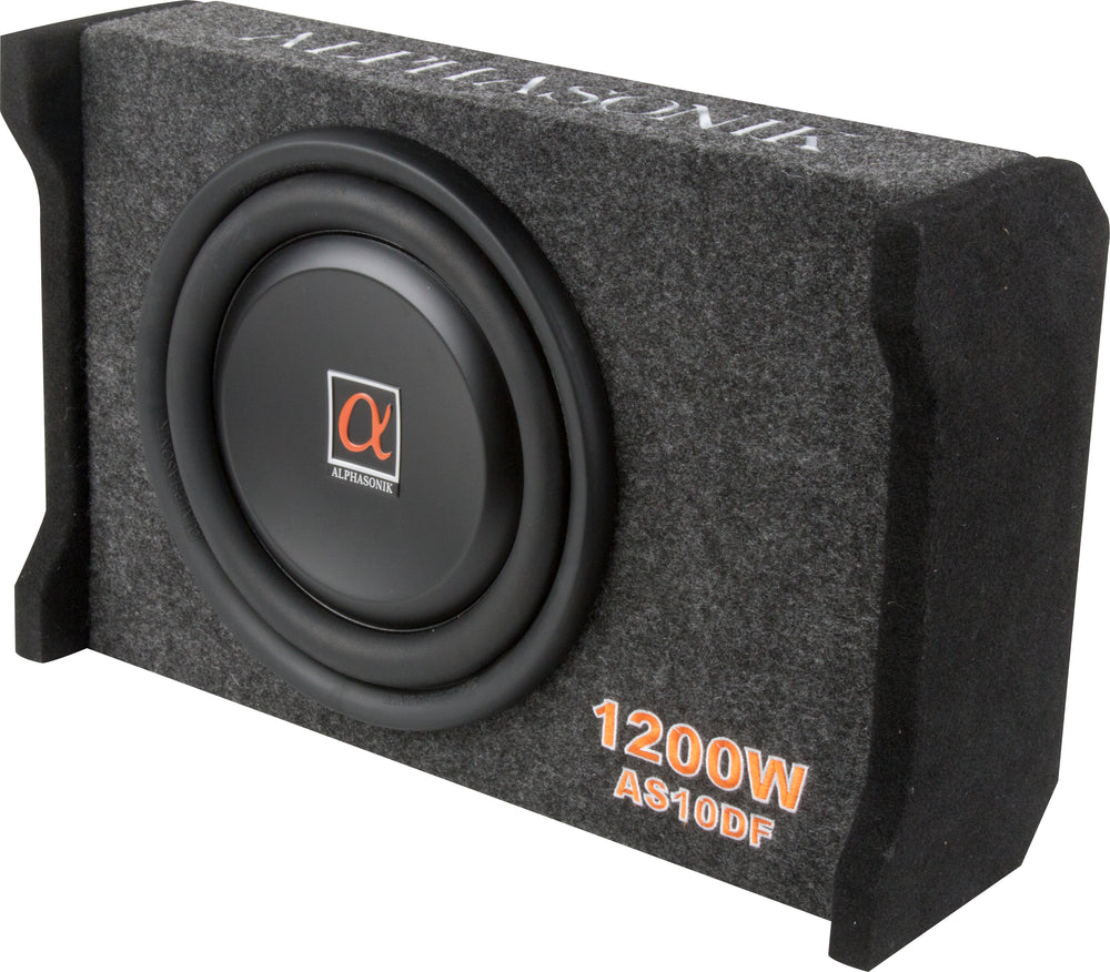 "Alphasonik AS10DF 10"" 1200 Watts 4-Ohm Down Fire Shallow Mount Flat Enclosed Sub woofer for Tight Spaces in Cars and Trucks, Slim Thin Loaded Subwoofer Air Tight Sealed Bass Enclosure"