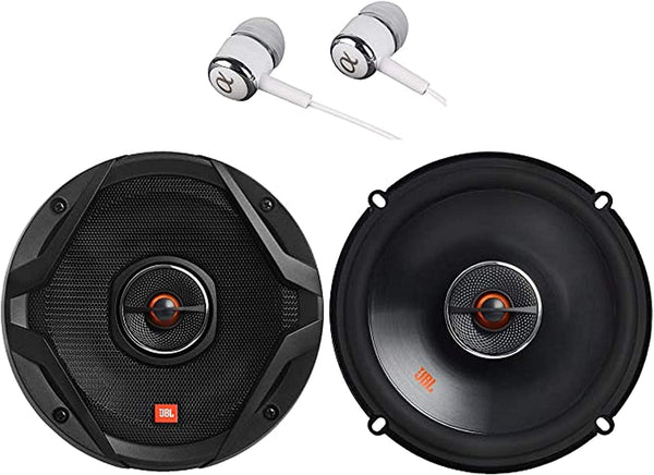 "JBL GX628 GX Series 6 . 5"" 180W Peak Power 2-Way Coaxial Car Loudspeakers with Polypropylene Cones ( Pair ) Bundled with Alphasonik Earbuds"