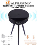 Alphasonik Decor Home Portable Bluetooth Speaker Table with Built-in Qi Wireless Charger