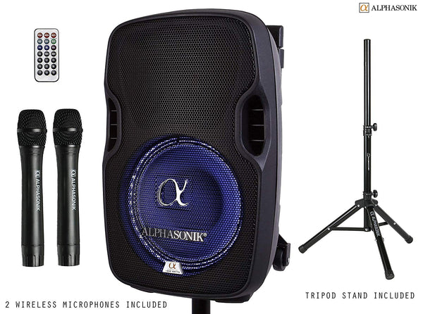 "Alphasonik 8"" Portable Rechargeable Battery Powered 800W Pro DJ Amplified Loud Speaker with 2 Wireless Microphones Echo Bluetooth USB SD Card Aux MP3 FM Radio PA System LED Ring Karaoke Tripod Stand"
