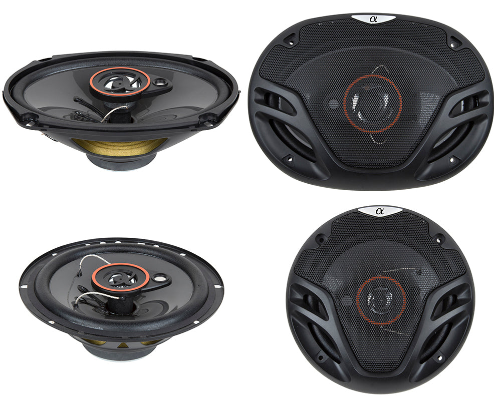 "Alphasonik AS2629P 6.5"" 350W 3-Way + 6X9"" 500W 3-Way Car Audio Coaxial Speakers"
