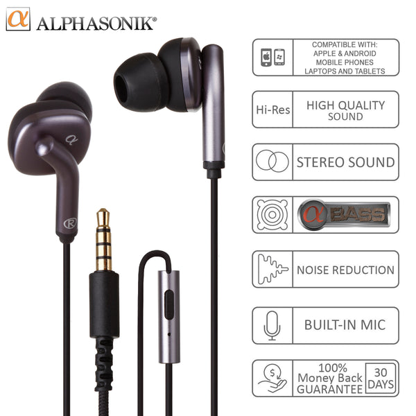 Alphasonik AE50AB Ultra HD Stereo Earphones