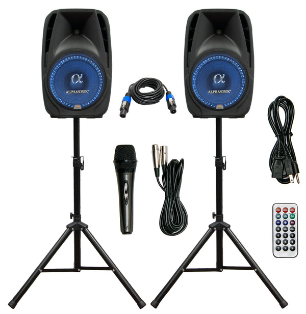 "Alphasonik All-in-one 12"" Powered 1500W PRO DJ Amplified Loud Speakers"