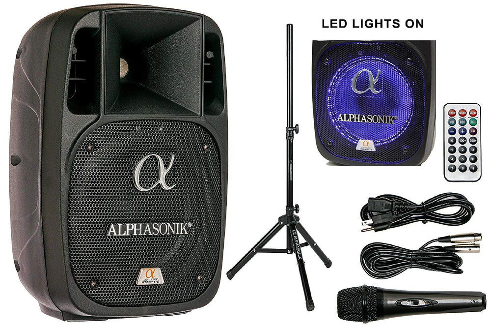 "Alphasonik 8"" Powered 1200W PRO DJ Amplified Loud Speaker Bluetooth USB SD Card AUX MP3 FM Radio PA System LED Ring Karaoke Mic Main Monitor, Band Church, Party, Guitar Amp, Home, BBQ w/ Tripod Stand"