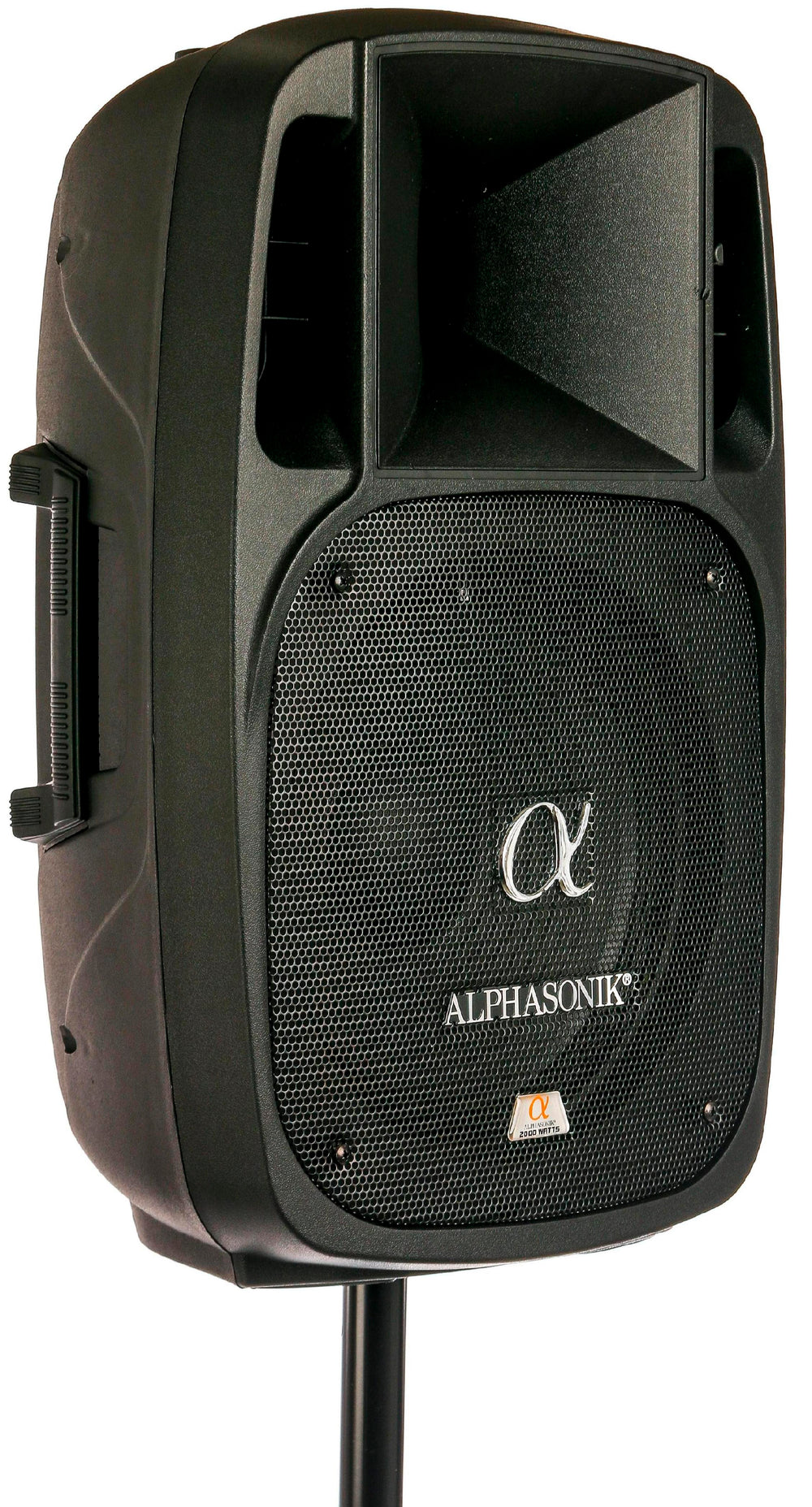 "Alphasonik 15"" Powered 2800W PRO DJ Amplified Loud Speaker Bluetooth USB SD Card AUX MP3 FM Radio PA System LED Ring Karaoke Feature Mic (Main Monitor, Band, Church, Party, Guitar Amp) w/ Tripod Stand"