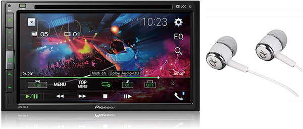 "Pioneer 6.8"" Double DIN Touchscreen Display, Apple iPhone and Android Bluetooth in-Dash DVD/CD AM/FM USB Car Stereo Receiver/Free Alphasonik Earbuds"