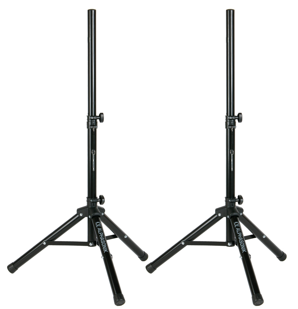 "Pair Alphasonik All-in-one 10"" Powered 1000W PRO DJ Amplified Loud Speakers with Bluetooth USB SD Card AUX MP3 FM Radio PA System LED Lights Karaoke Mic Guitar Amp 2 Tripod Stands Cable and Microphone"